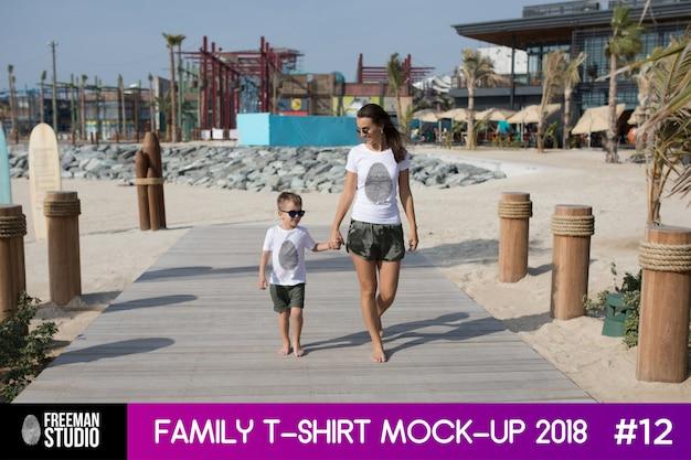Modelo de t-shirt da família