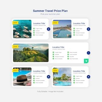 Modelo de tabela de plano de preços de viagens de verão