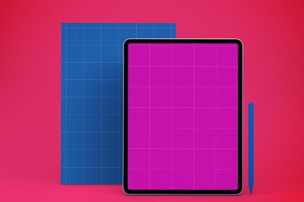 Modelo de tablet de papel a4