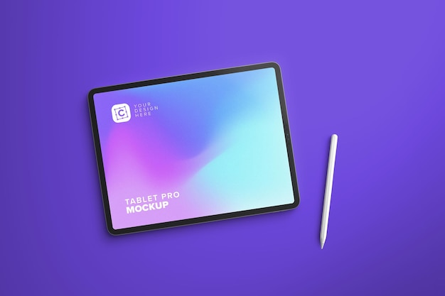 Modelo de tablet paisagem pro para design uiapp com caneta