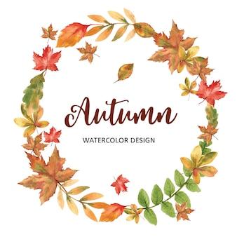 Modelo de tema com grinalda de outono