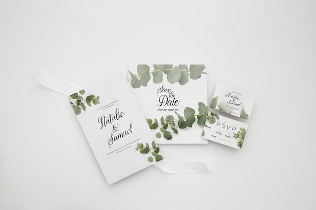 Modelo de tema elegante de convite de casamento