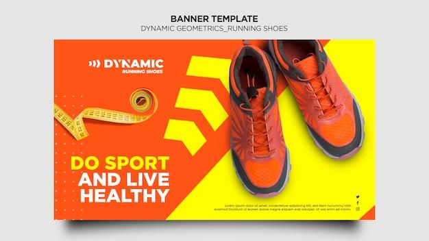 Modelo de tênis de corrida de banner
