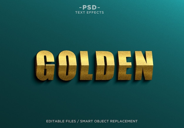 Modelo de texto 3d triangle golden effects