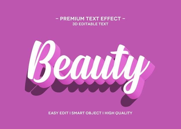 Modelo de texto de efeito de estilo de texto de beleza 3d