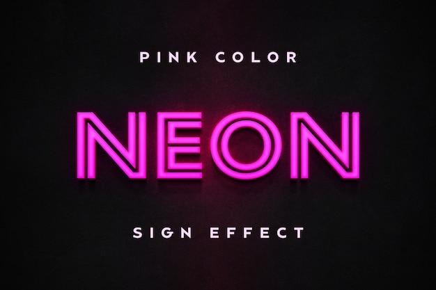 Modelo de texto de efeito de sinal de néon rosa