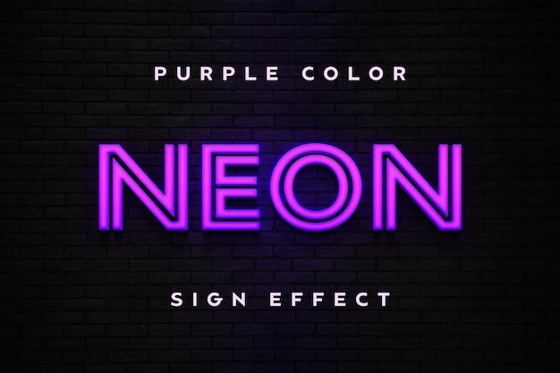 Modelo de texto de efeito de sinal de néon roxo