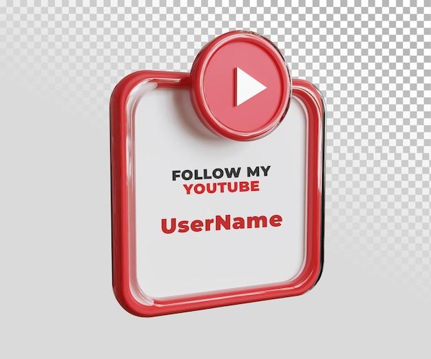 Modelo de texto de rótulo de nome de usuário do youtube 3d