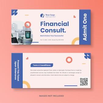 Modelo de tíquete financeiro abstrato simples