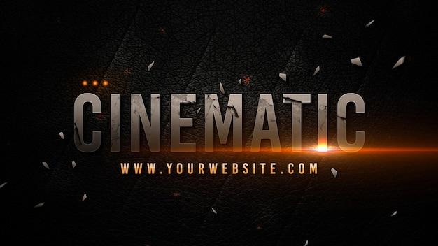 Modelo de título cinematográfico em fundo escuro