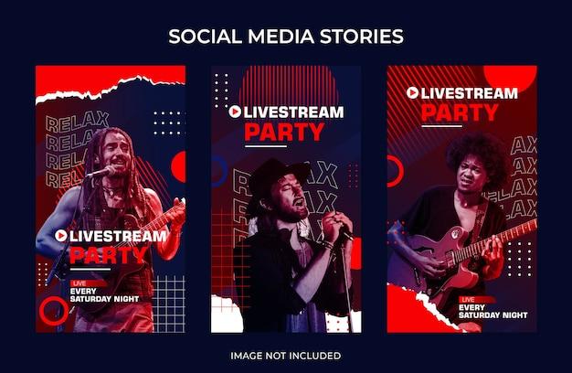 Modelo de transmissão ao vivo para mídia social no instagram, histórias, música