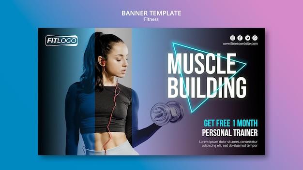 Modelo de treinador de fitness de banner