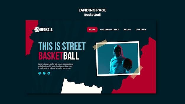 Modelo de treinamento de basquete da página de destino