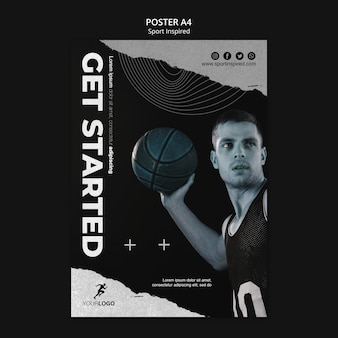 Modelo de treinamento de basquete em pôster