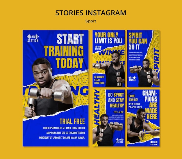 Modelo de treinamento de histórias do instagram