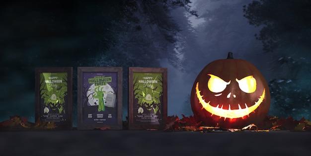Modelo de três cartazes de filmes de terror