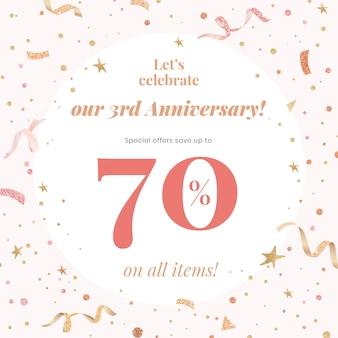 Modelo de venda de aniversário psd com 70% de desconto para postagem em mídia social