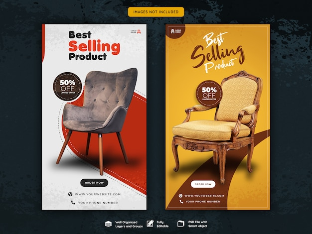 Modelo de venda de histórias para instagram para móveis