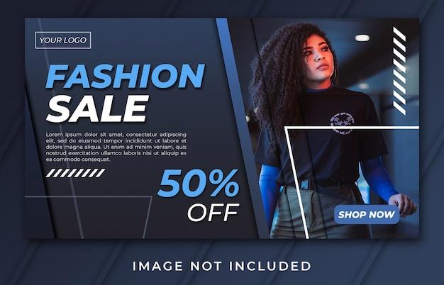 Modelo de venda de moda de banner de página de destino