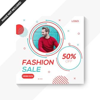 Modelo de venda de moda masculina para publicação de mídia social