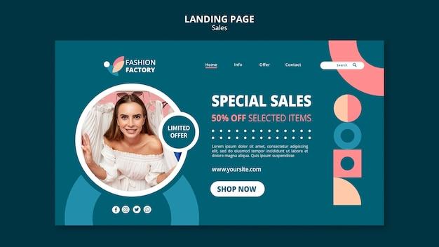 Modelo de venda de moda para página de destino