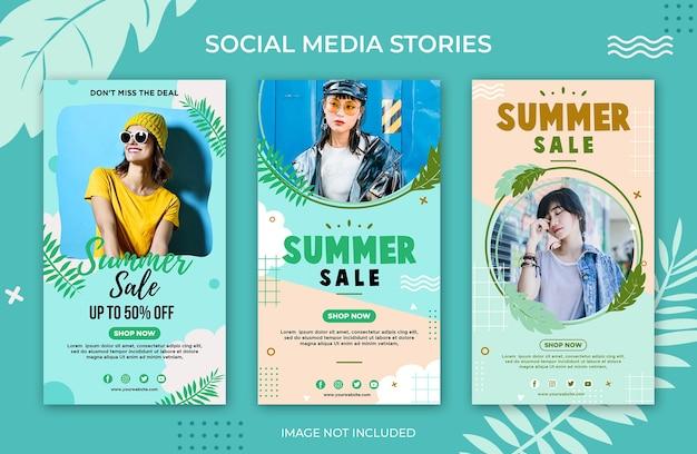 Modelo de venda de verão para histórias em redes sociais no instagram