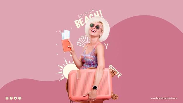 Modelo de verão feliz mulher