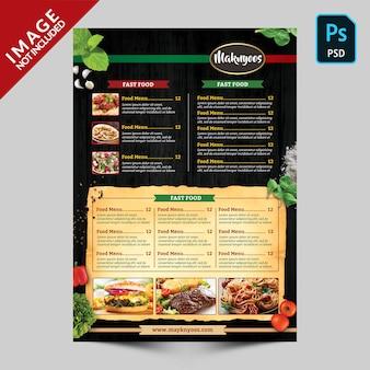 Modelo de verso do menu de comida de restaurante italiano
