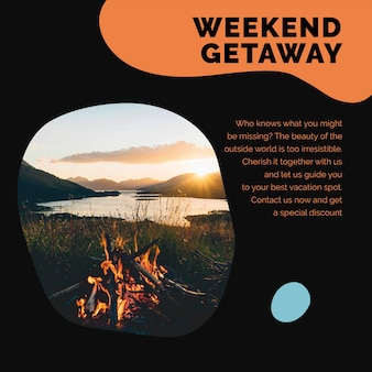 Modelo de viagem de fim de semana para férias psd para anúncio de mídia social de agências