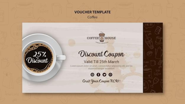 Modelo de voucher de café com elementos de mão desenhada