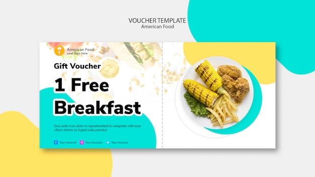 Modelo de voucher para café da manhã grátis