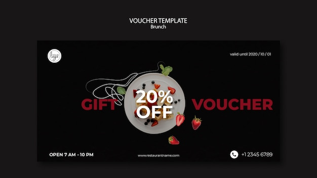 Modelo de voucher para design de restaurante brunch