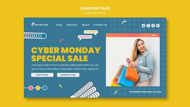 Modelo de web cibernética de segunda-feira criativa