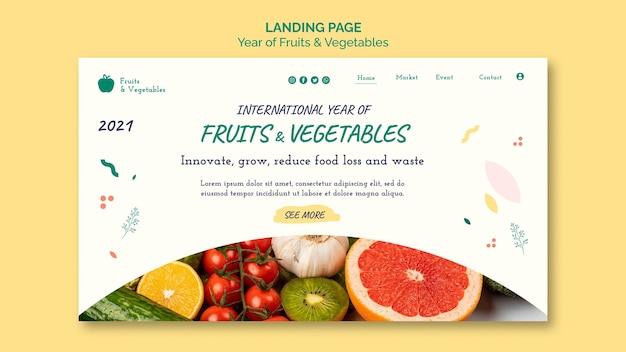 Modelo de web de ano de frutas e vegetais