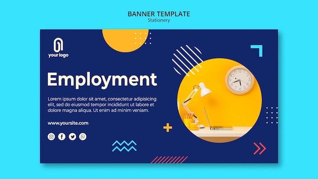 Modelo de web de banner de conceito de emprego
