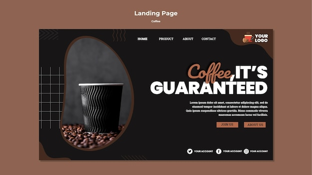 Modelo de web de café delicioso