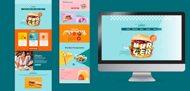Modelo de web de conceito de comida americana