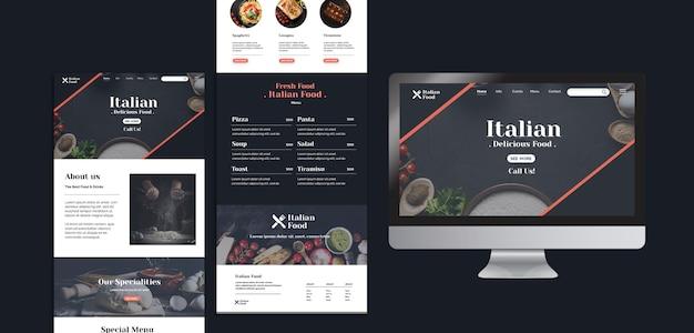 Modelo de web de conceito de comida italiana