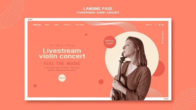 Modelo de web de concerto de violino ao vivo