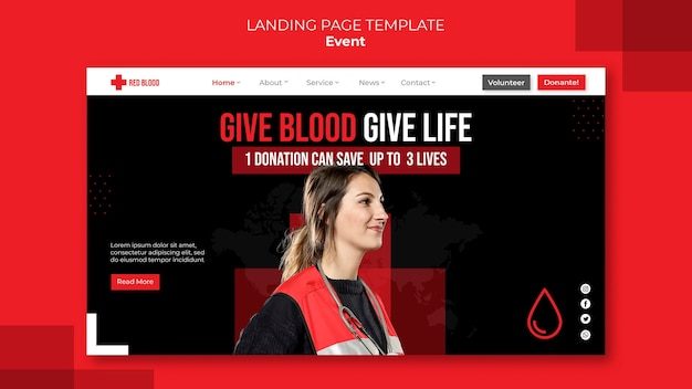 Modelo de web de doação de sangue
