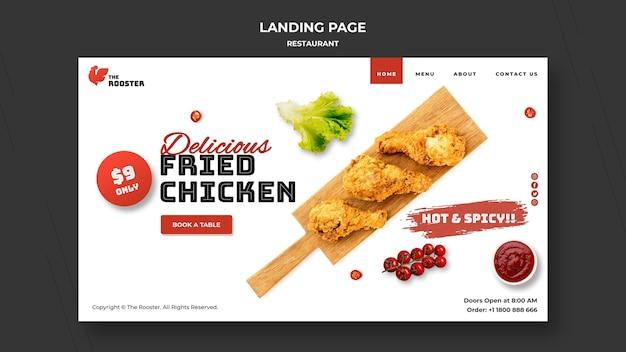 Modelo de web de fast food com foto