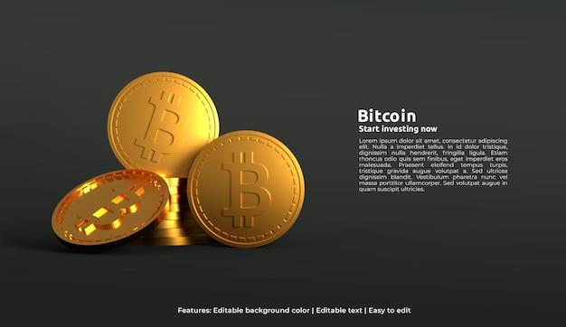 Modelo de web design 3d de moeda criptográfica