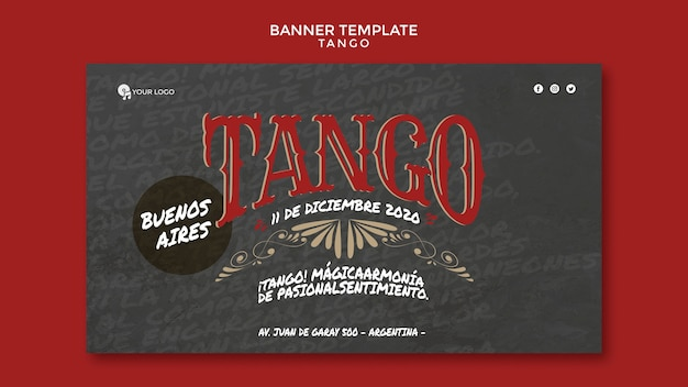 Modelo de web do banner de evento de tango em buenos aires