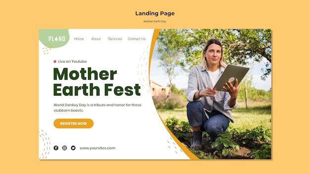 Modelo de web do dia da mãe terra com foto