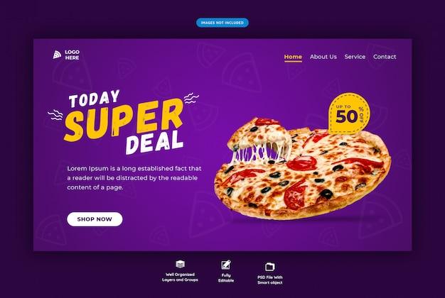 Modelo de web horizontal de fast-food