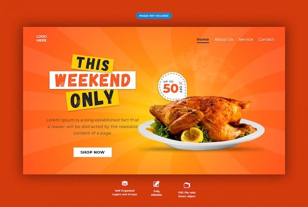 Modelo de web horizontal de restaurante