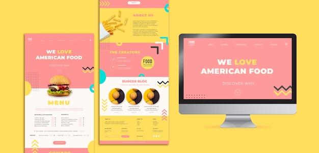 Modelo de web para comida americana com hambúrguer