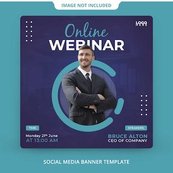 Modelo de webinar online ao vivo de marketing digital para mídia social corporativa