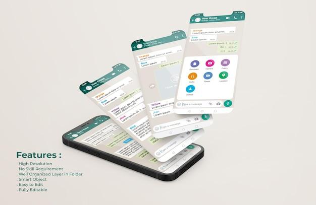 Modelo de whatsapp messenger em telefone celular e maquete de apresentação de aplicativo ui ux