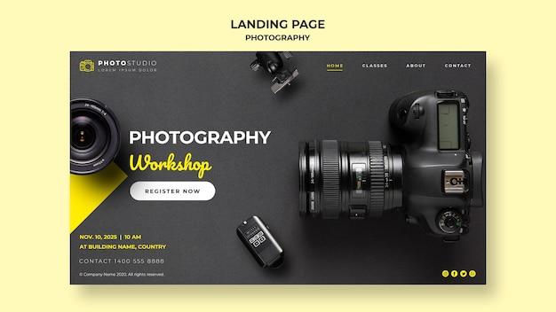 Modelo de workshop de fotografia da página de destino